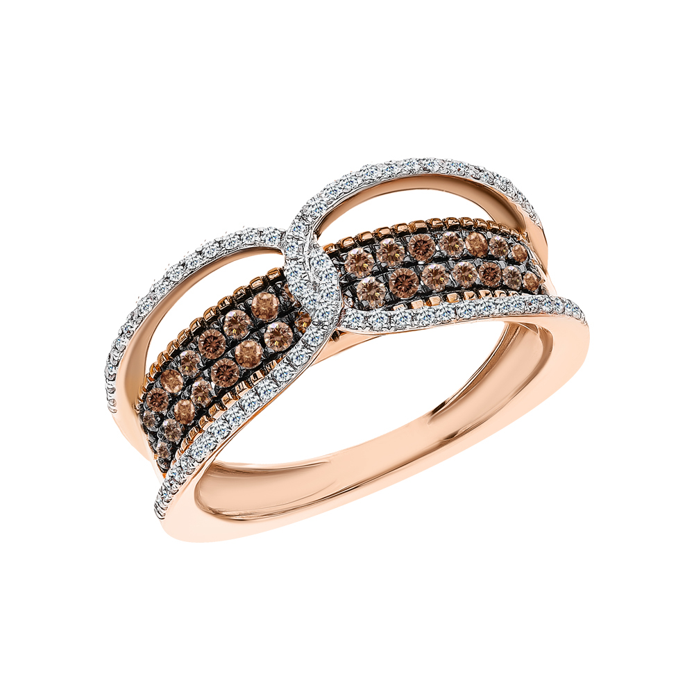 Золотое кольцо с коньячными бриллиантами и бриллиантами в Екатеринбурге
