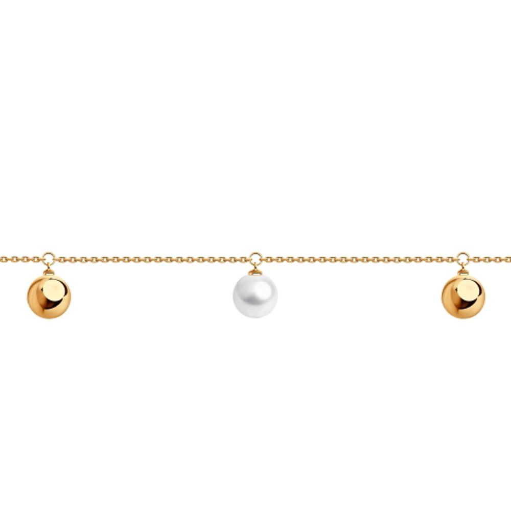 золотой браслет с жемчугом SOKOLOV 795027*