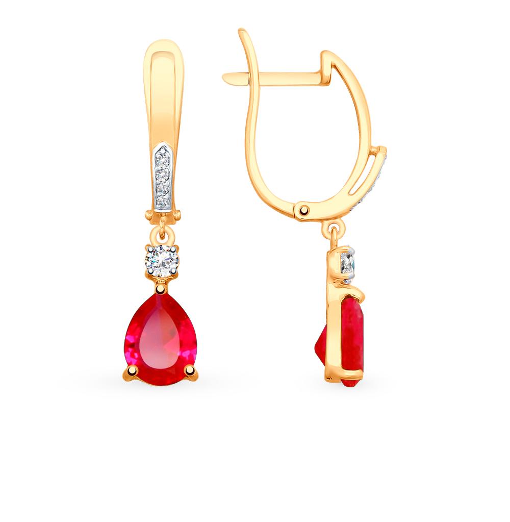 Фото «Золотые серьги с рубинами, корундом и фианитами SOKOLOV 725501*»