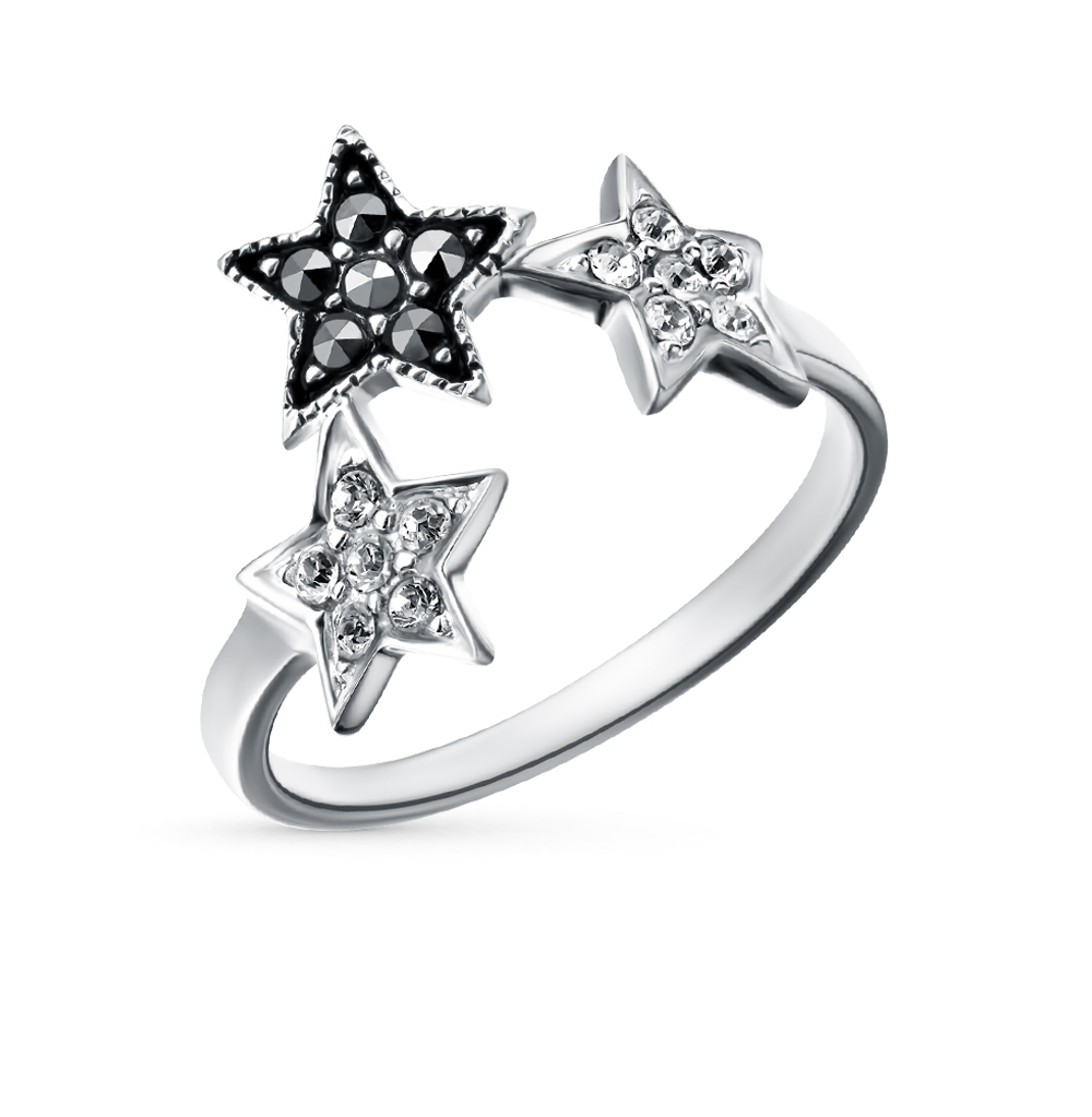 Фото «серебряное кольцо с марказитами и кристаллами swarovski»