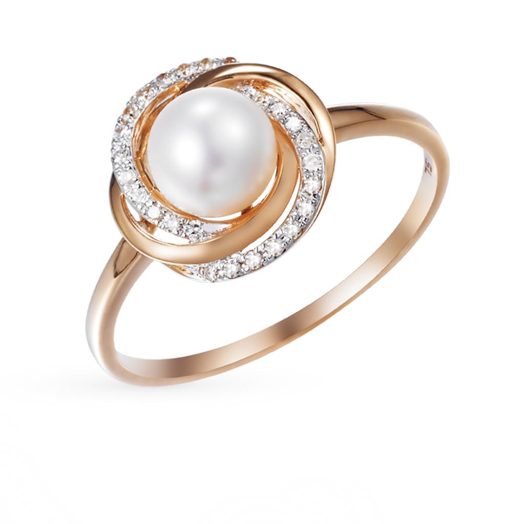 Золотое кольцо с жемчугом и бриллиантами от SUNLIGHT