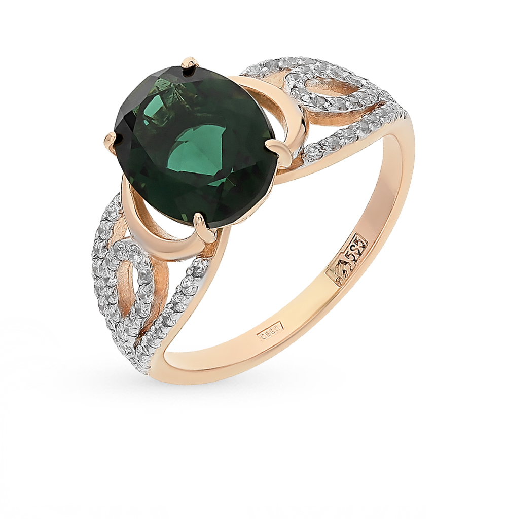 Фото «золотое кольцо с турмалинами и фианитами»