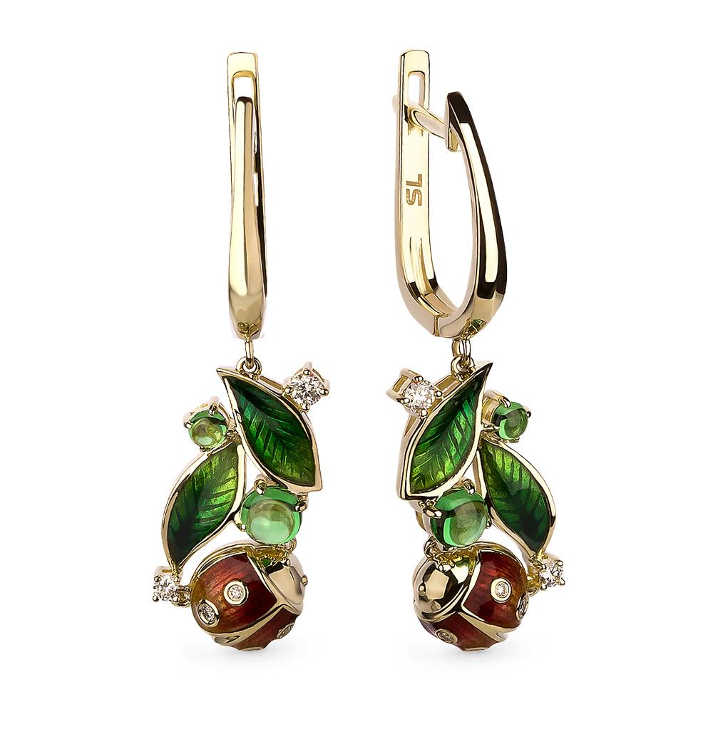 Фото «золотые серьги с цаворитами, эмалью и бриллиантами»