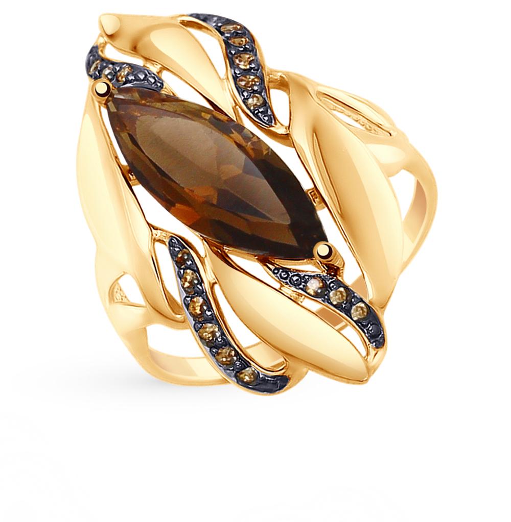 золотое кольцо с раухтопазами SOKOLOV 714800*