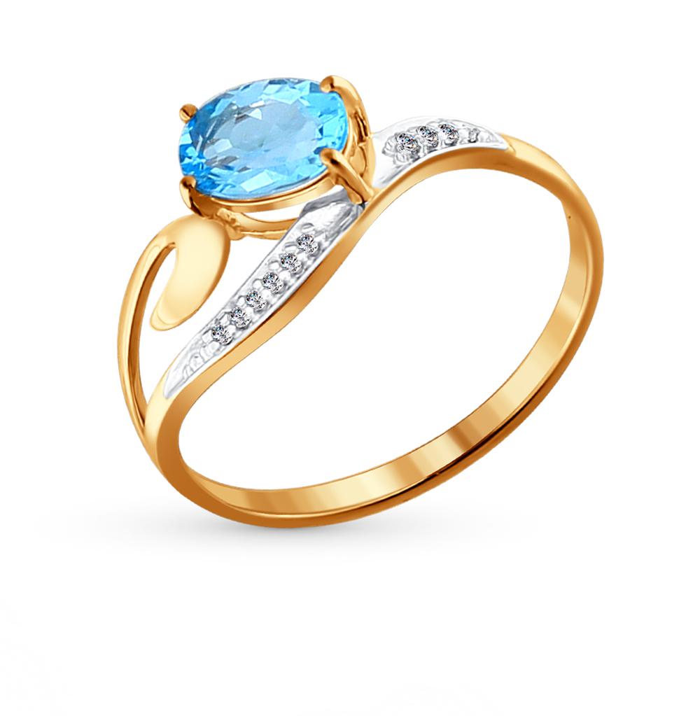 золотое кольцо с топазами и фианитами SOKOLOV 713841*