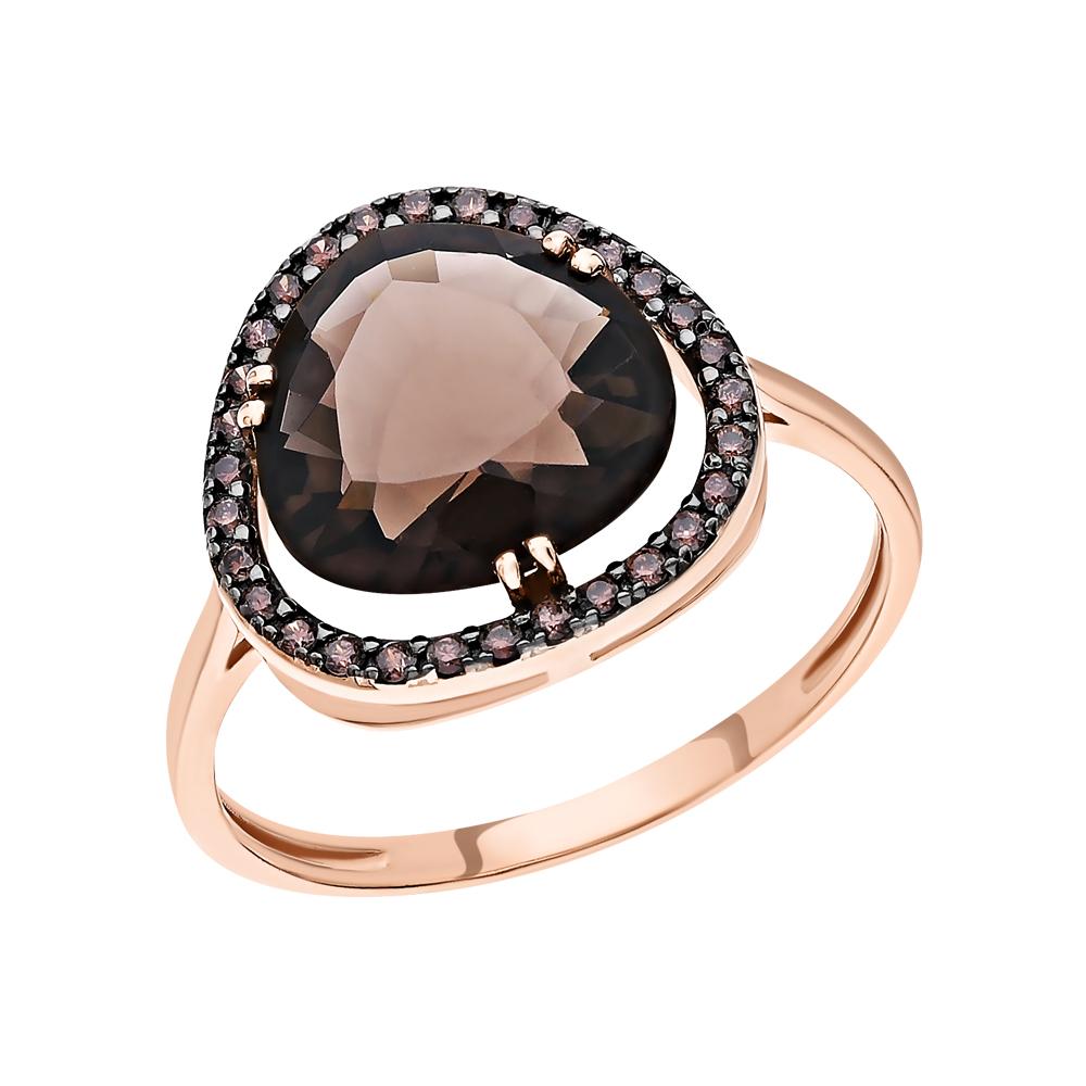 Золотое кольцо с раухтопазом и фианитами в Екатеринбурге