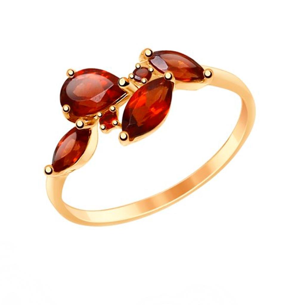 золотое кольцо с гранатом SOKOLOV 714819*