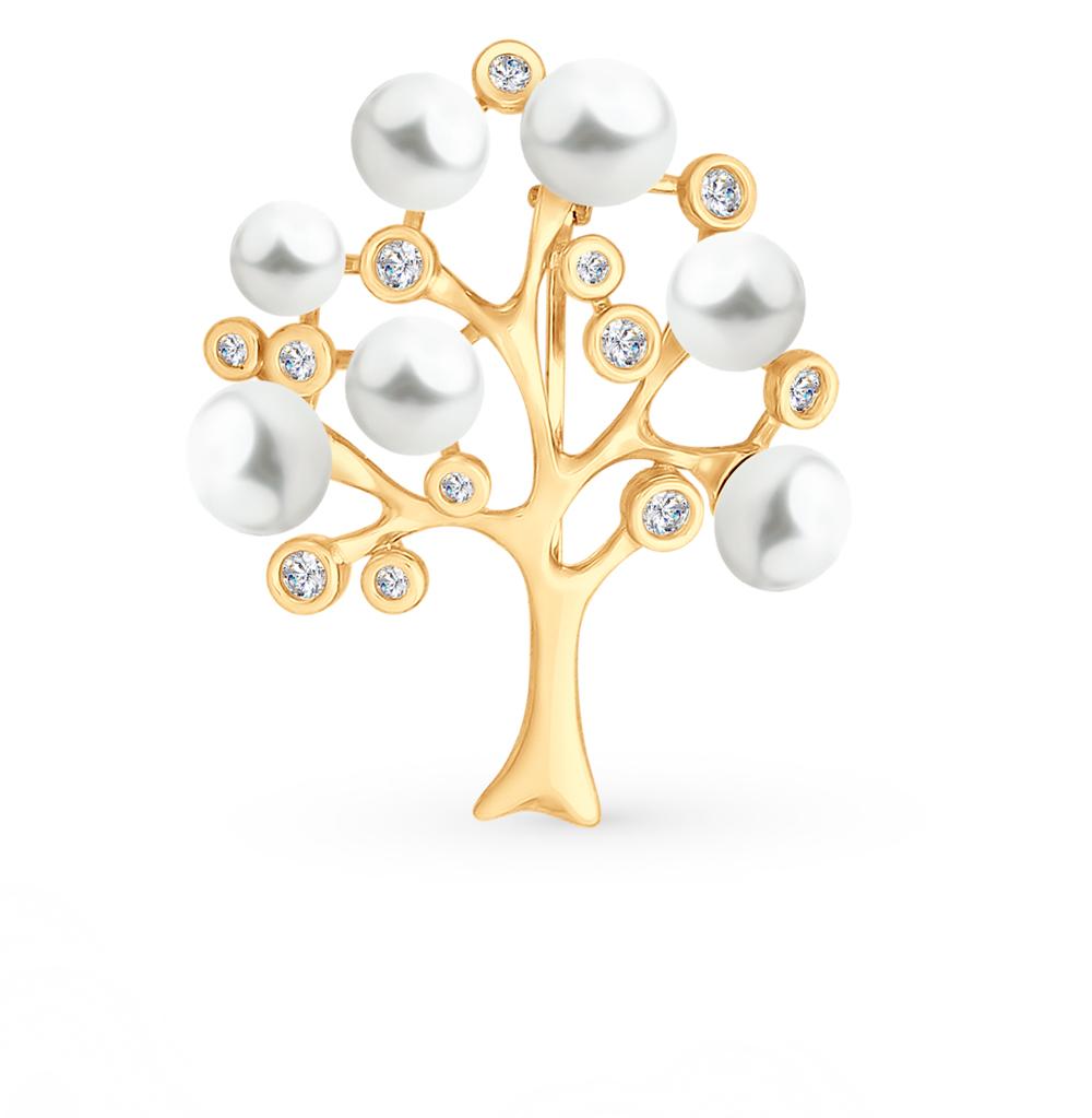 золотая брошь с фианитами и жемчугом SOKOLOV 794024*