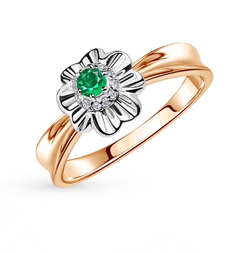 Золотое кольцо с изумрудами и бриллиантами в Екатеринбурге