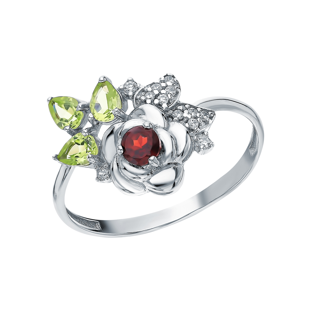 Фото «Серебряное кольцо с хризолитом, фианитами и гранатом»