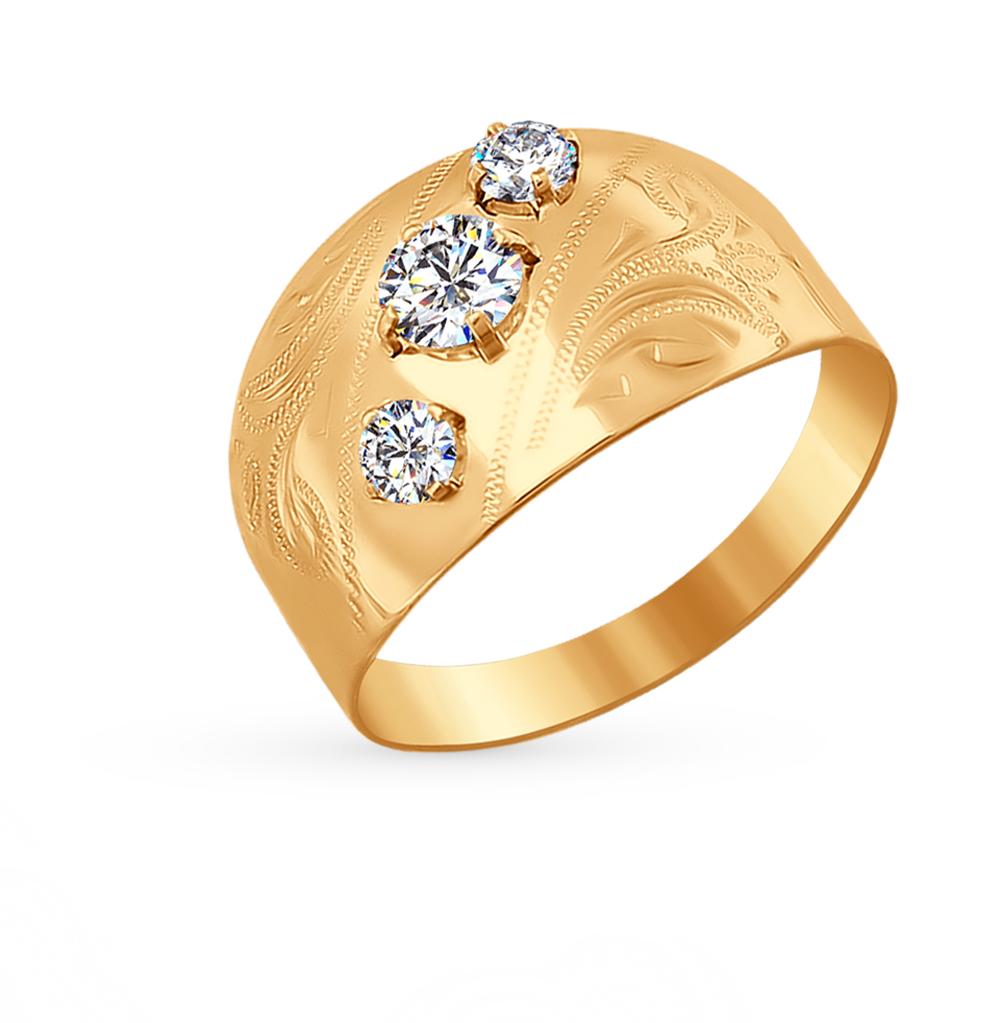 золотое кольцо с фианитами SOKOLOV 016724*