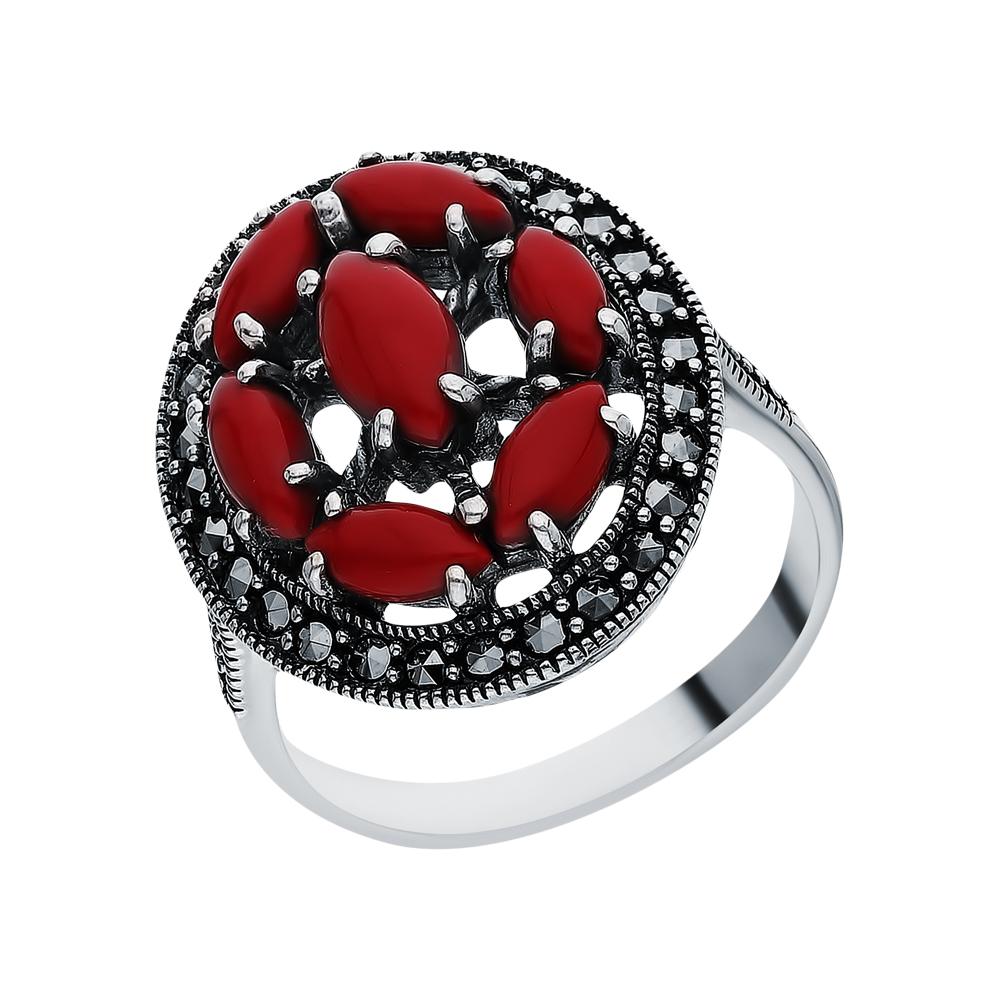 Фото «Серебряное кольцо с кораллами прессованными и марказитами swarovski»