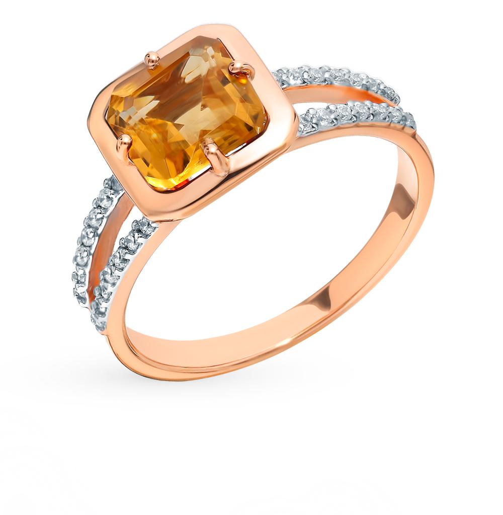Золотое кольцо с фианитами и цитрином