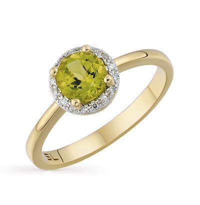 625bde989376 Золотое кольцо с хризолитом и бриллиантами SUNLIGHT  жёлтое золото ...
