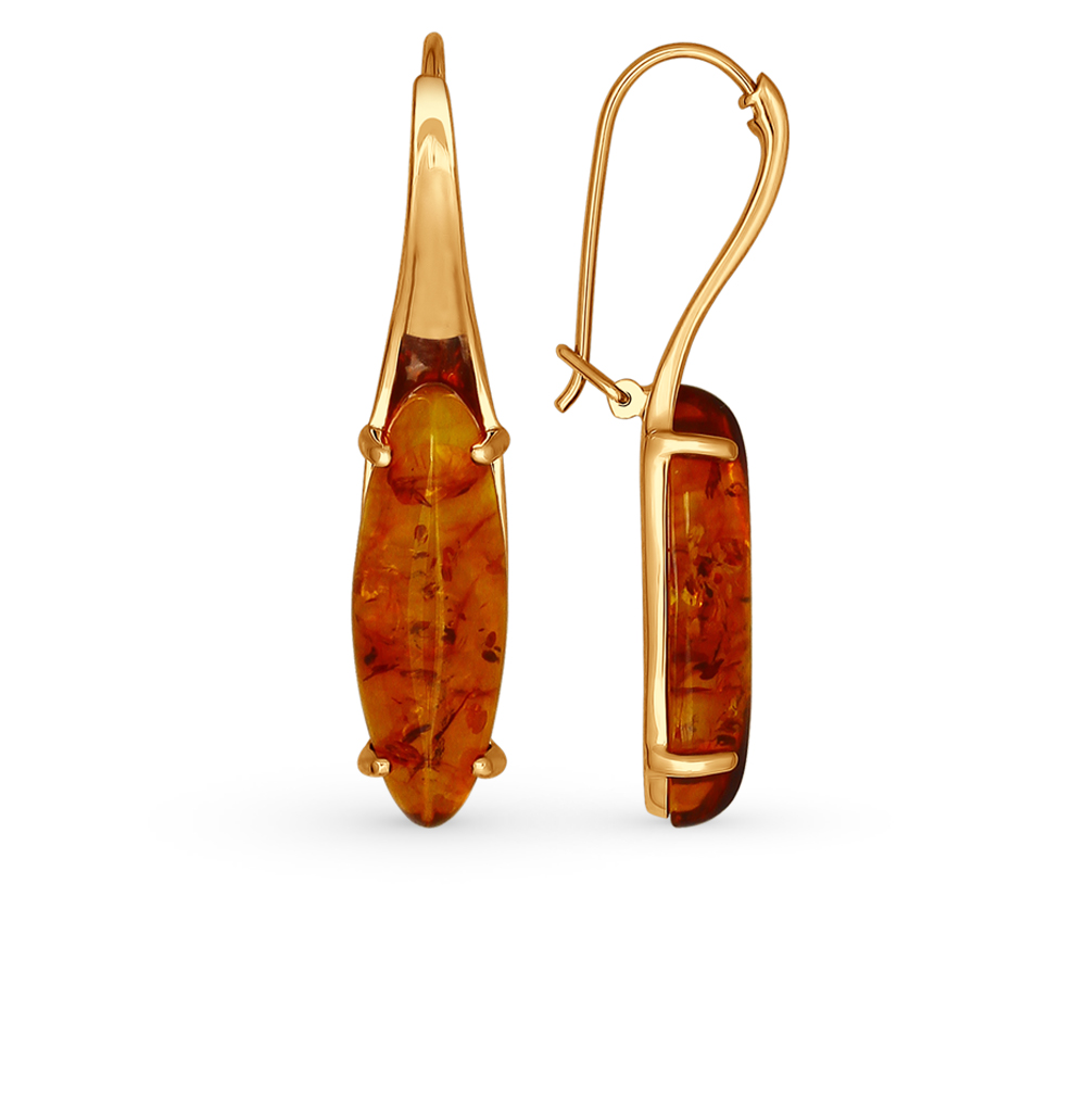серебряные серьги с янтарем SOKOLOV 83020035