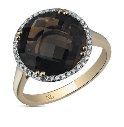 Фото «золотое кольцо с раухтопазами (кварцами дымчатый) и бриллиантами»
