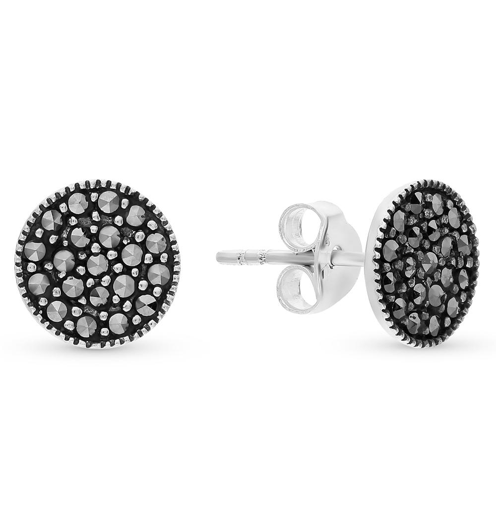 серебряные серьги с марказитами