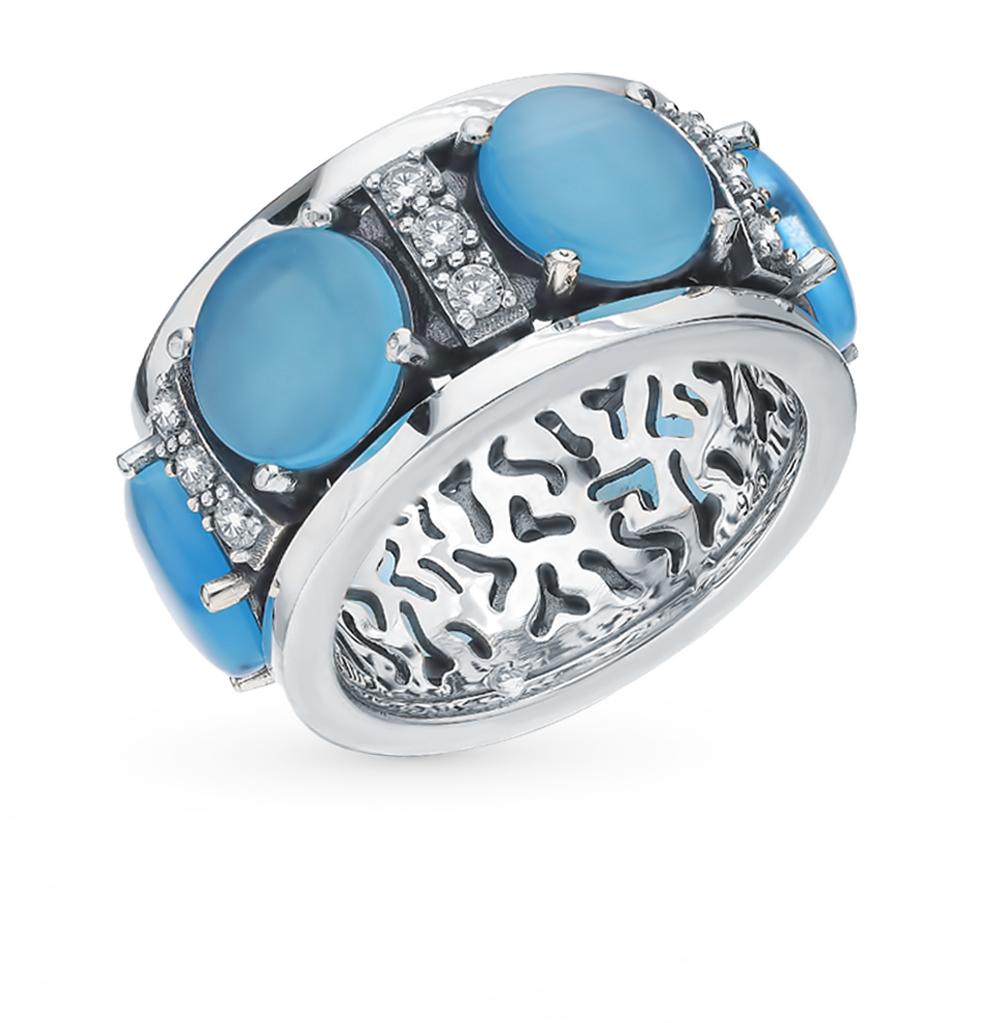 Фото «Серебряное кольцо с кошачьим глазом и фианитами S40364-K9W-01»