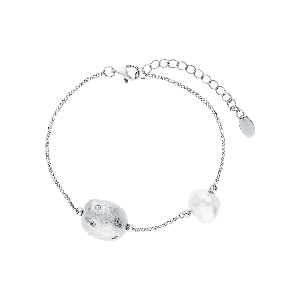 Фото «Серебряный браслет с цирконием, жемчугом и кубическими циркониями»