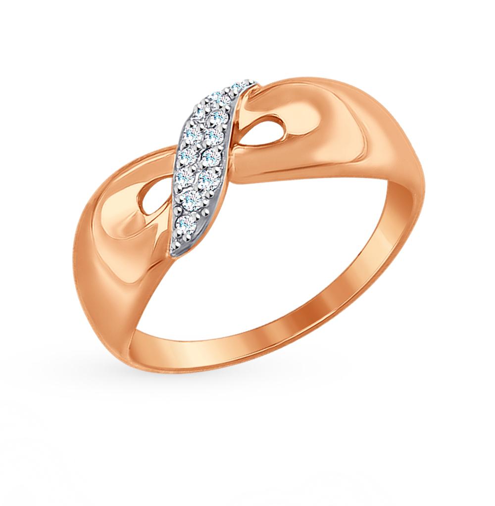 золотое кольцо с фианитами SOKOLOV 017458*