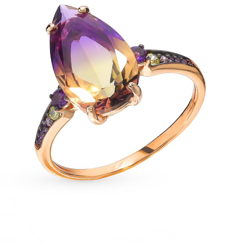 Фото «Золотое кольцо с аметрином и фианитами»