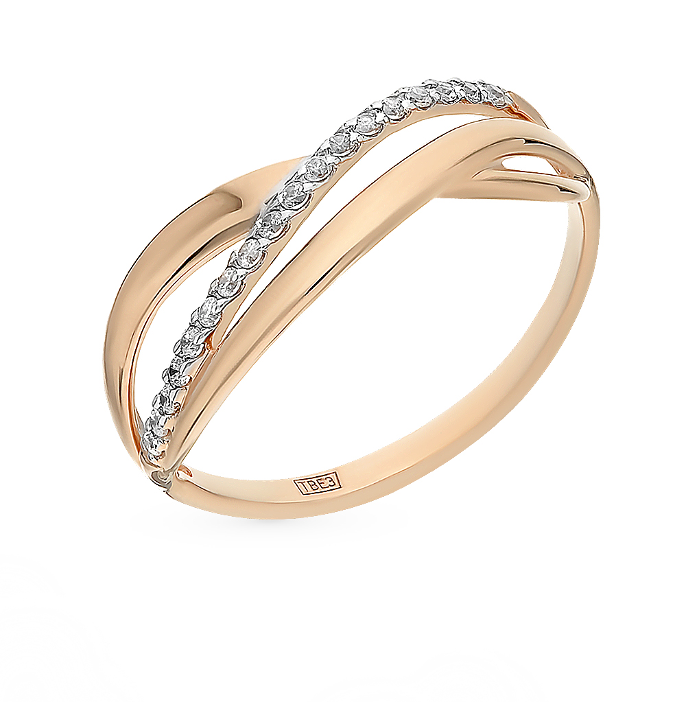 Фото «Золотое кольцо с фианитами SOKOLOV 017242*»