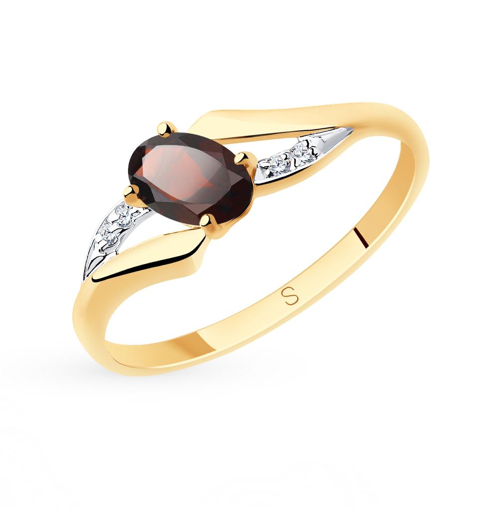 золотое кольцо с фианитами и гранатом SOKOLOV 715683*
