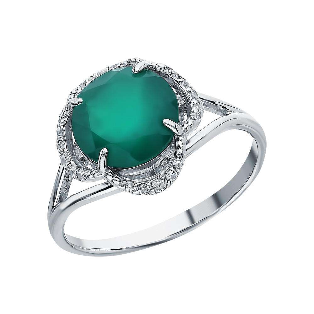 Серебряное кольцо с хризопразами в Екатеринбурге