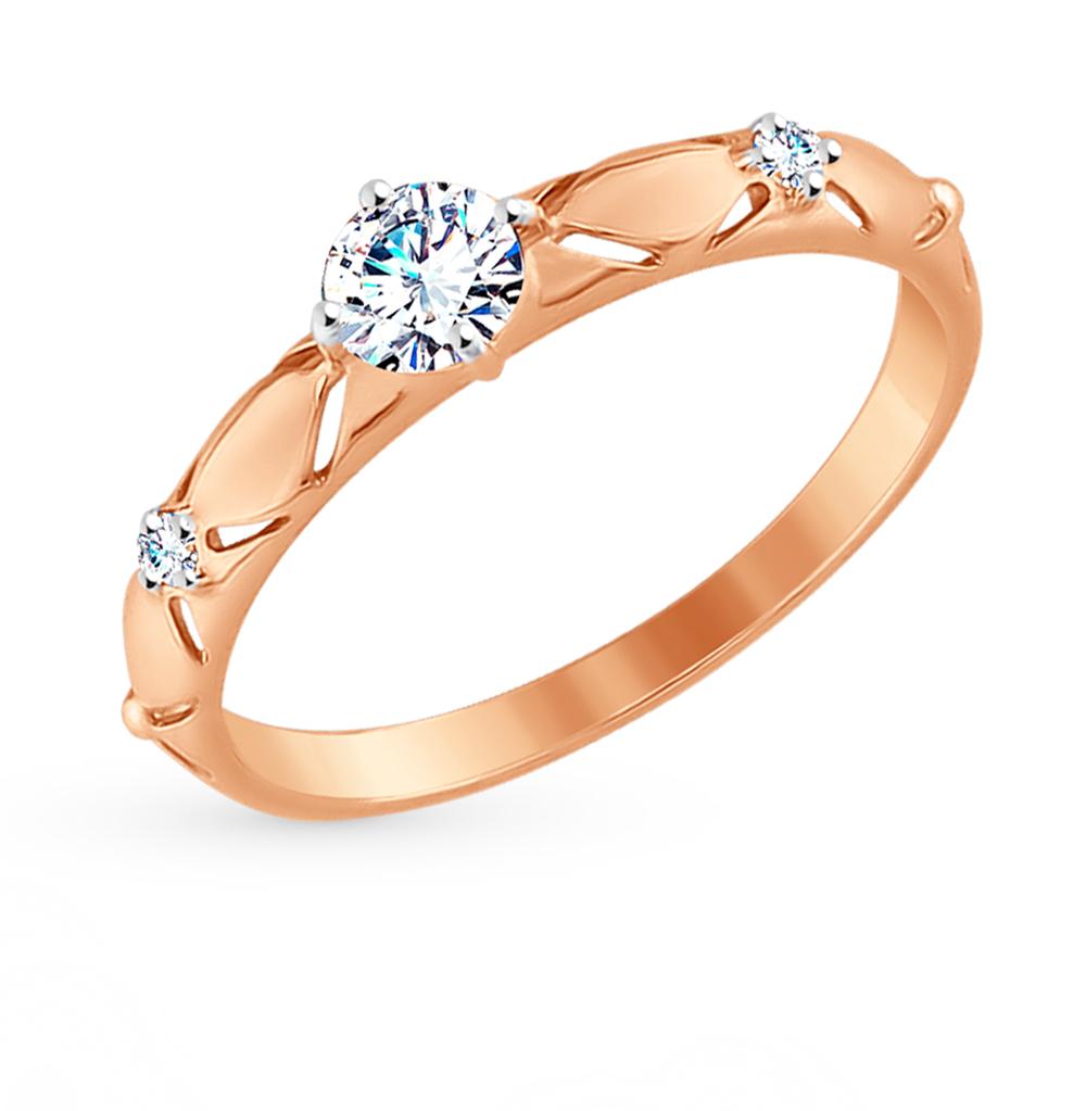 золотое кольцо с фианитами SOKOLOV 017538*