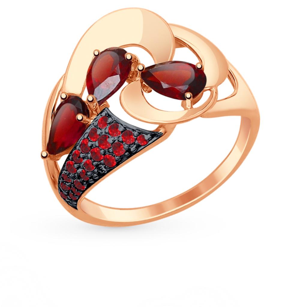 Фото «Золотое кольцо с фианитами и гранатом SOKOLOV 714806*»