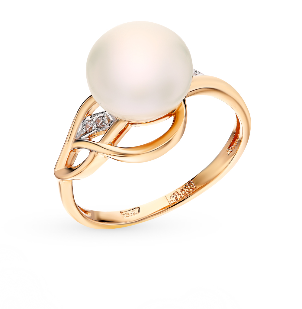 Золотое кольцо с фианитами и жемчугом в Екатеринбурге