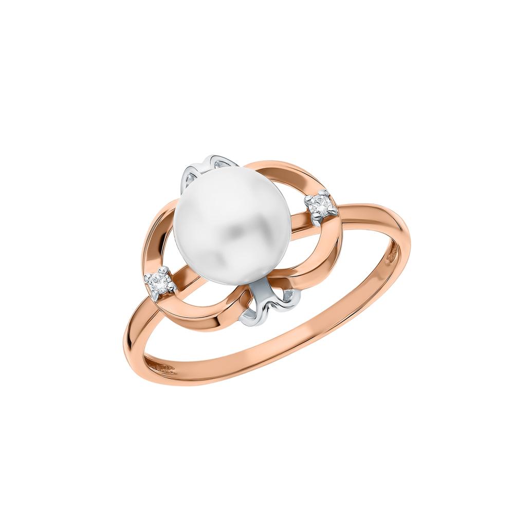 Золотое кольцо с жемчугами культивированными в Екатеринбурге