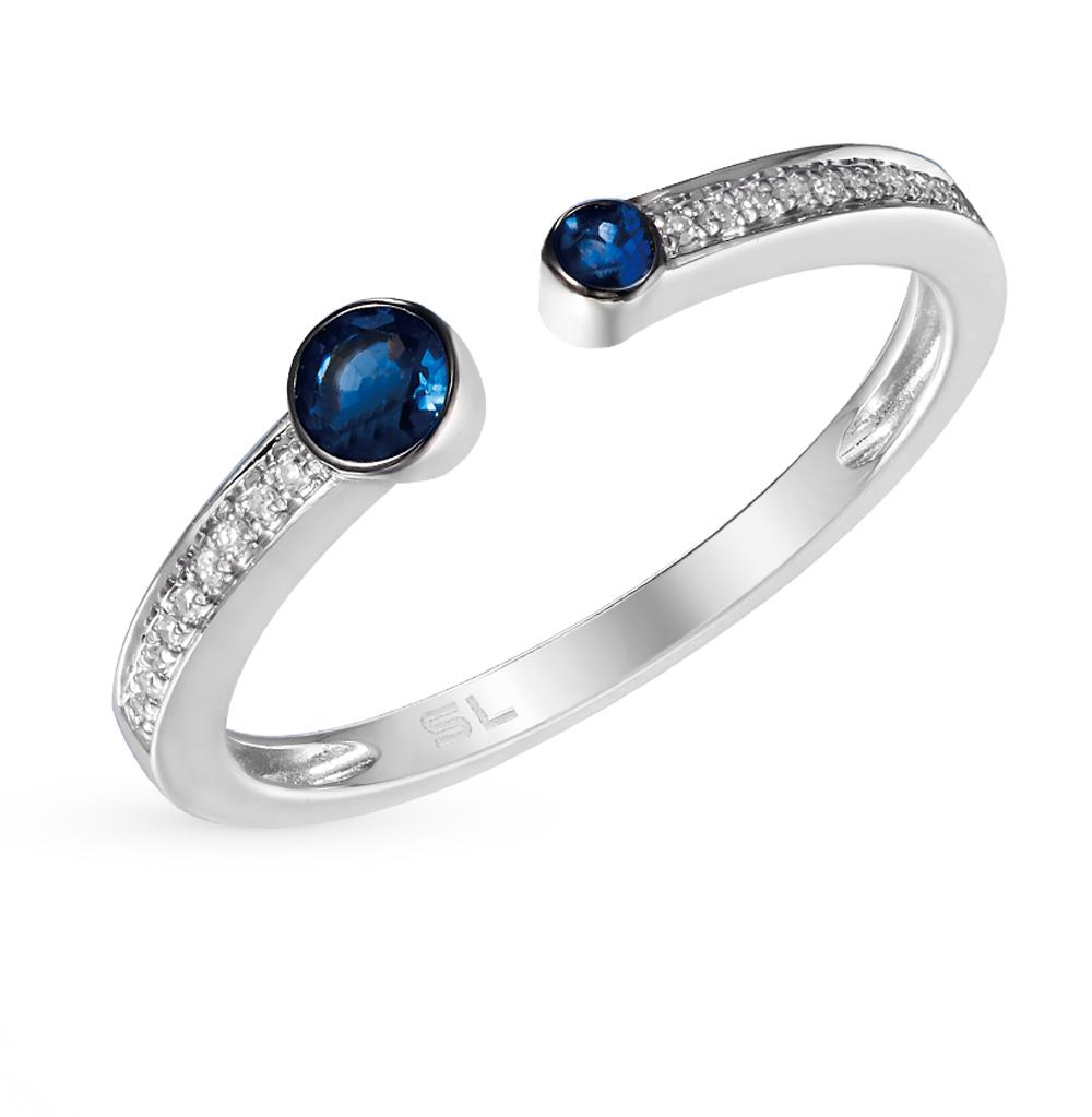 Золотое кольцо с сапфирами и бриллиантами от SUNLIGHT