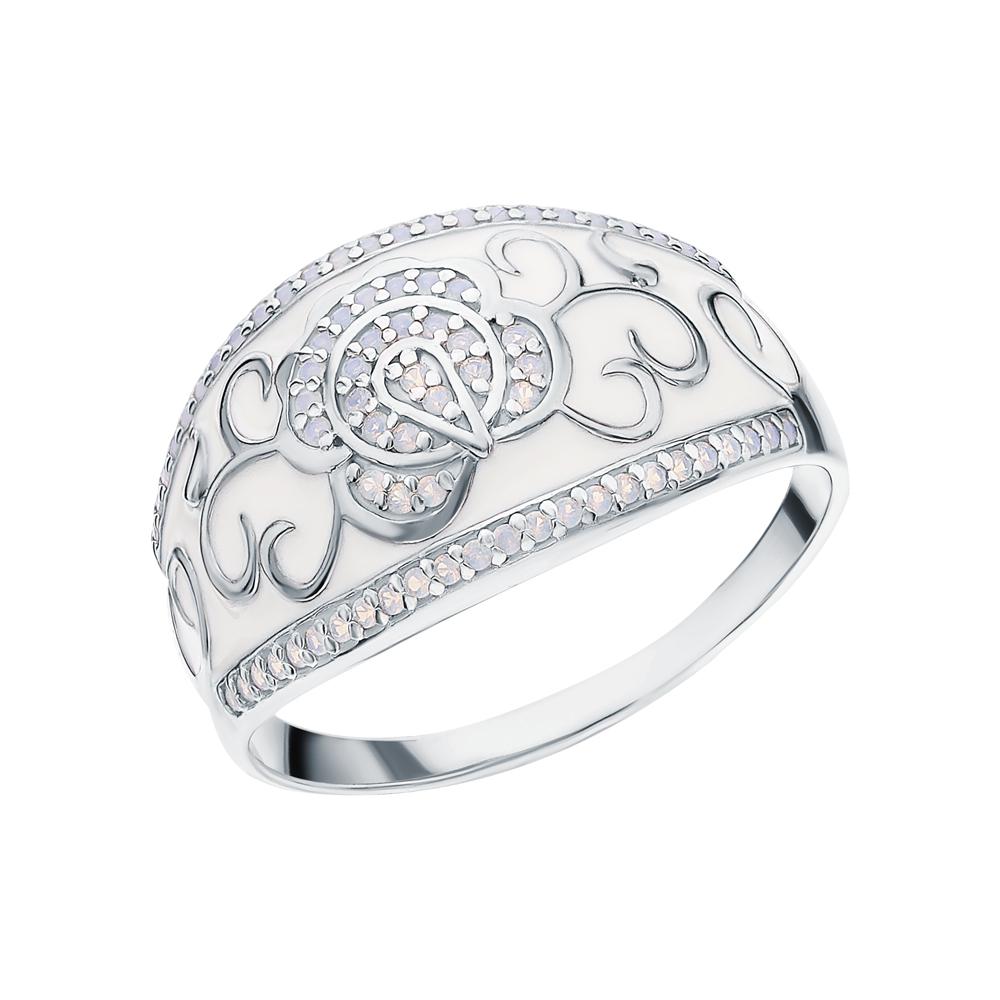 Серебряное кольцо с эмалью и опалами имитациями в Санкт-Петербурге