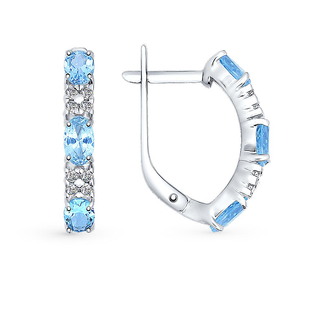 серебряные серьги с топазами и фианитами SOKOLOV 92021430