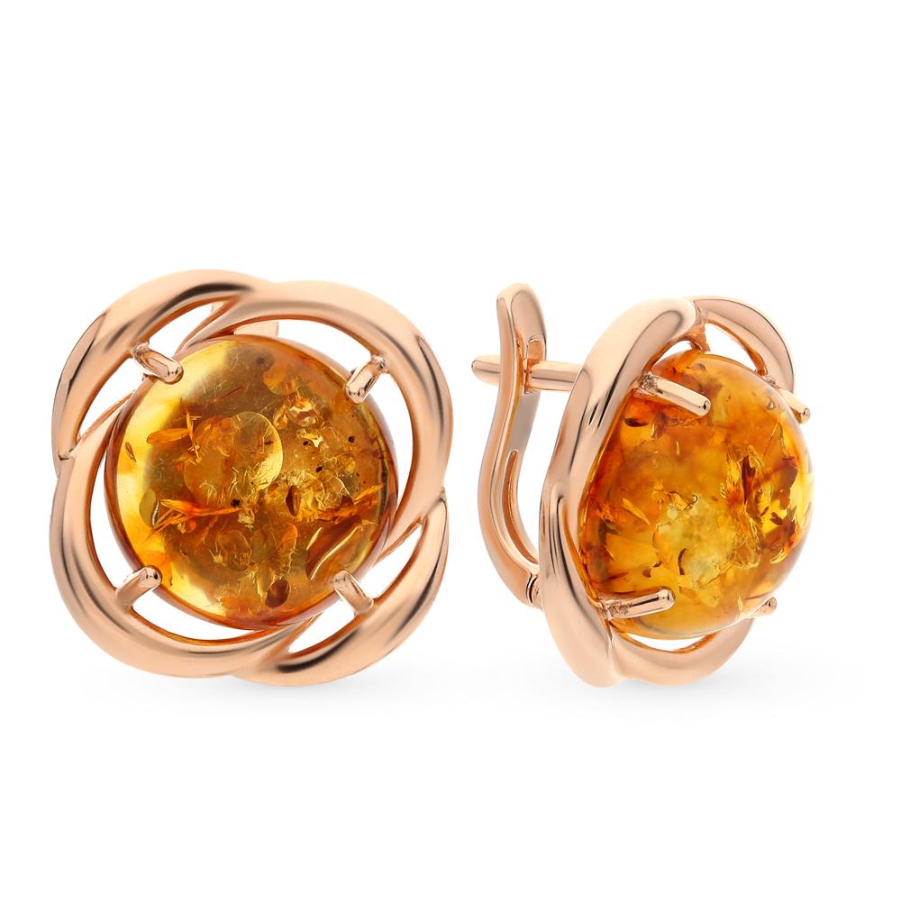 серебряные серьги с янтарем SOKOLOV 93020620