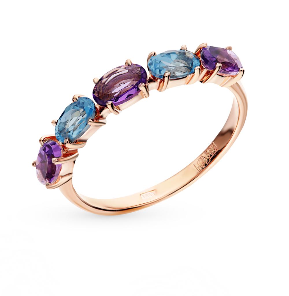золотое кольцо с ситаллами и аметистом