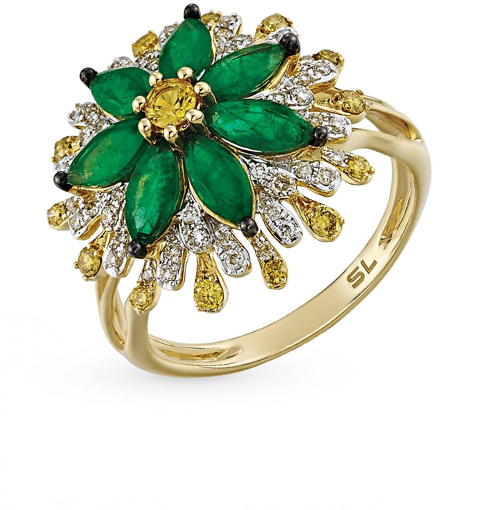 золотое кольцо с сапфирами, изумрудами и бриллиантами