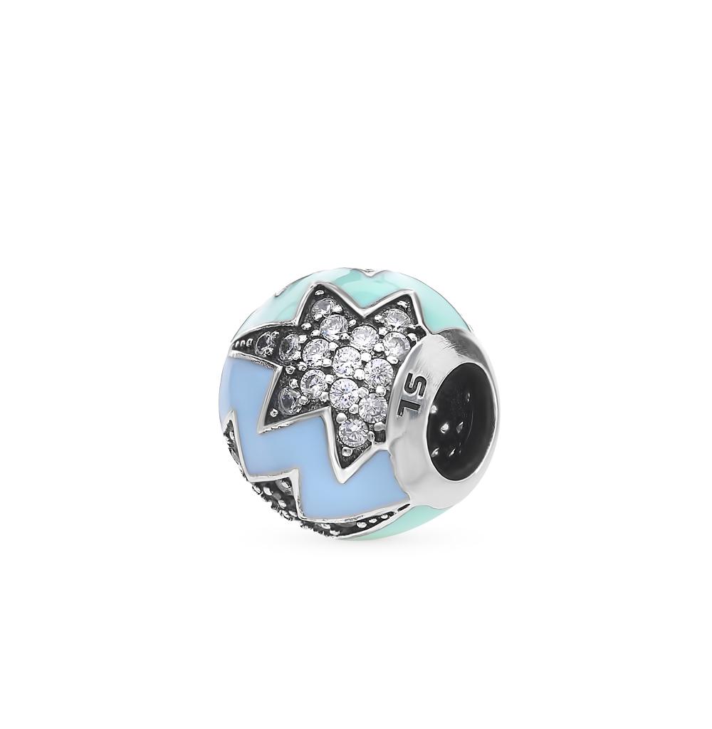 Фото «Серебряная подвеска-шарм с фианитами и эмалью»