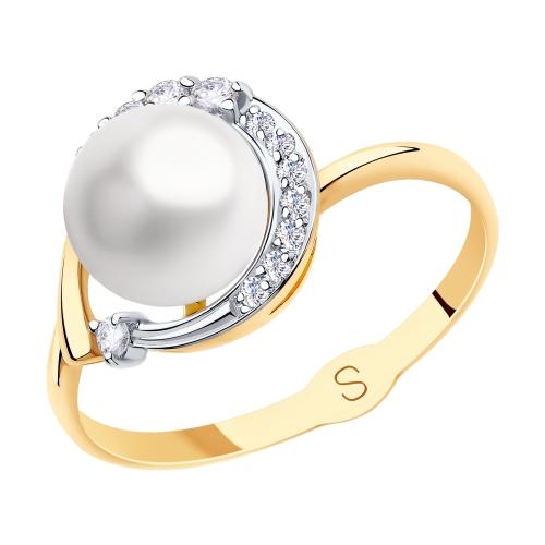 Фото «Золотое кольцо с фианитами и жемчугом SOKOLOV 791149»