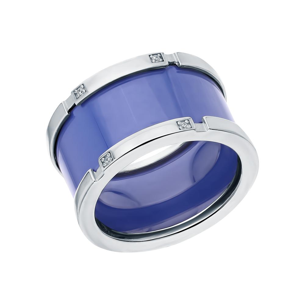 Серебряное кольцо с керамикой и кубическим цирконием в Санкт-Петербурге
