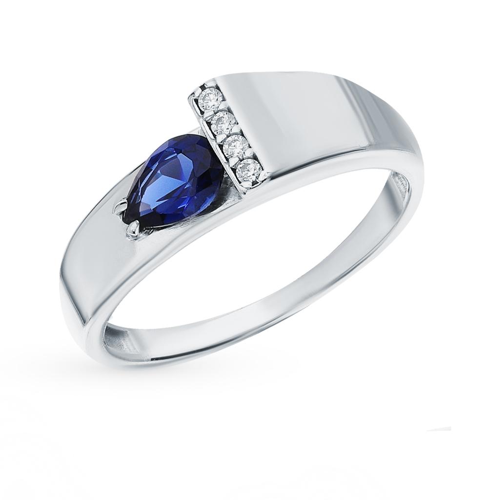 Серебряное кольцо с фианитами и наносапфирами в Екатеринбурге