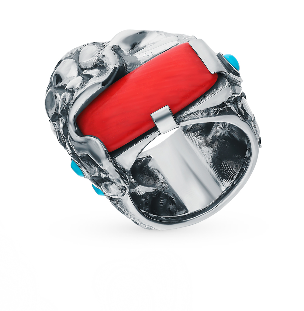 Фото «Серебряное кольцо с бирюзой и кораллом»