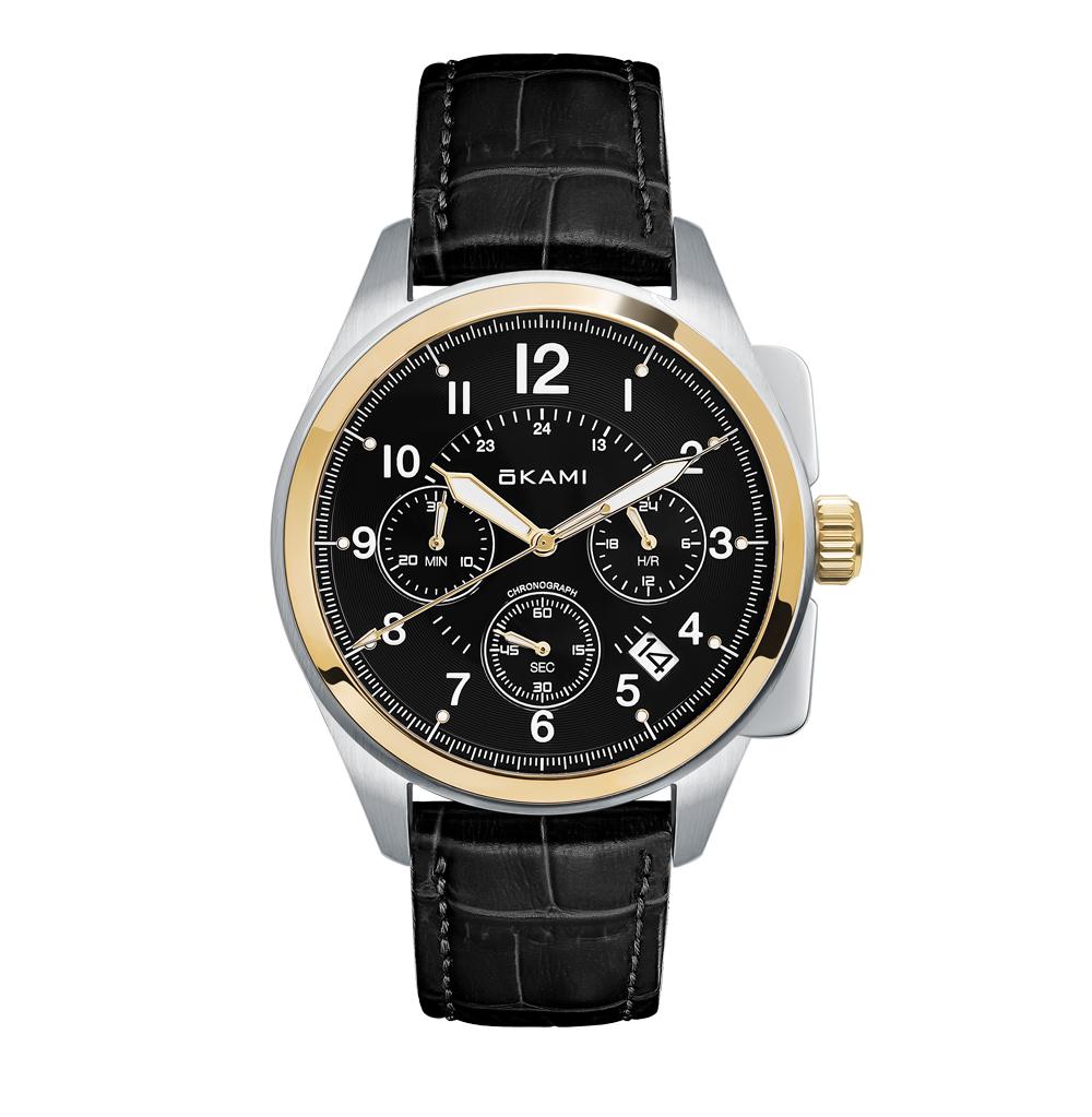 Фото «Мужские часы с хронографом на ремне из натуральной кожи»
