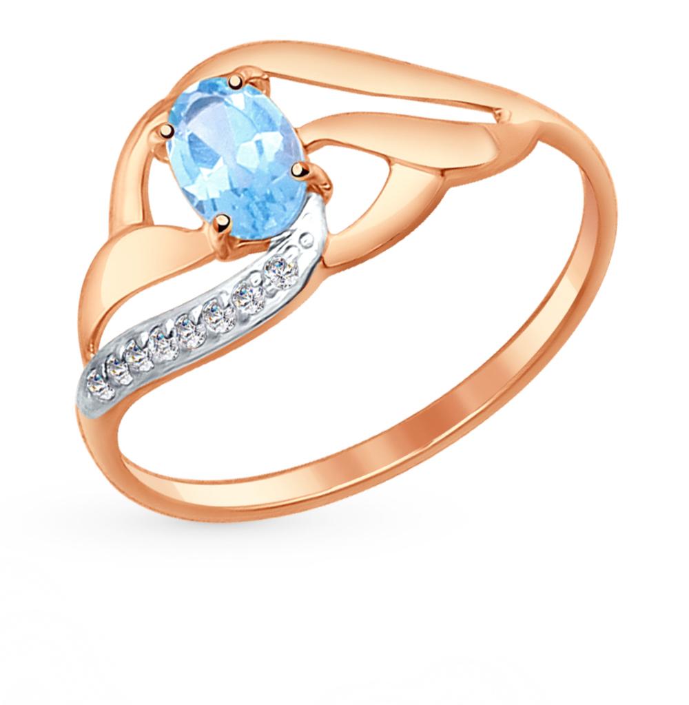 золотое кольцо с топазами и фианитами SOKOLOV 714646*