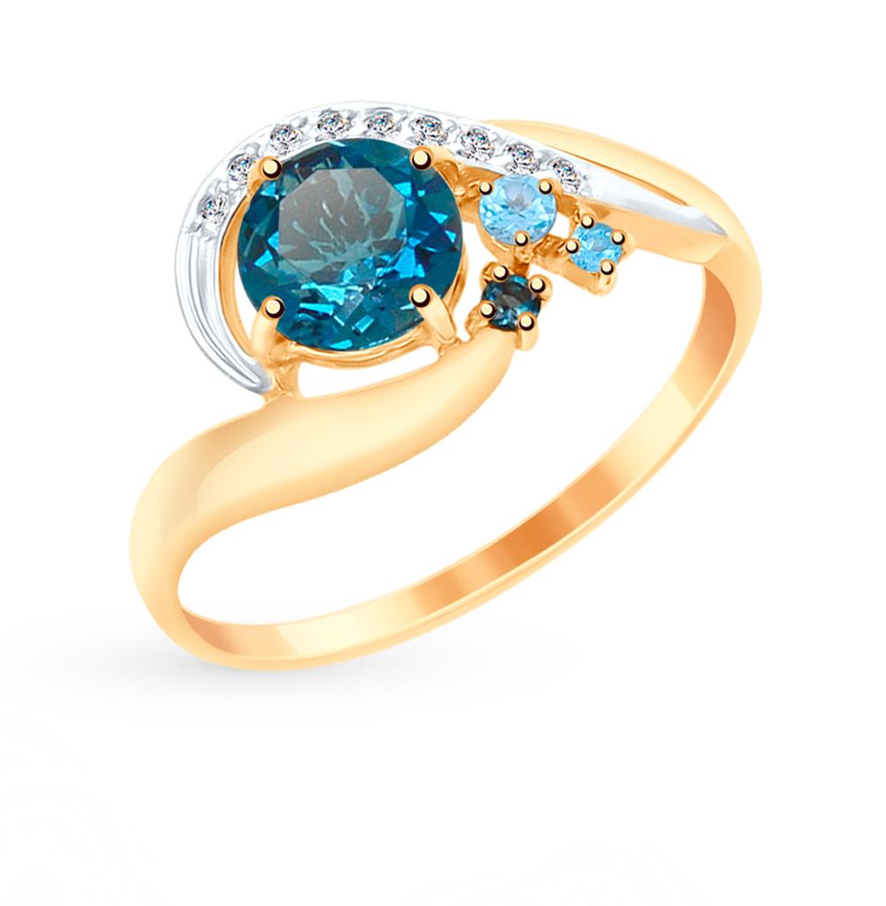 золотое кольцо с топазами и фианитами SOKOLOV 715048*