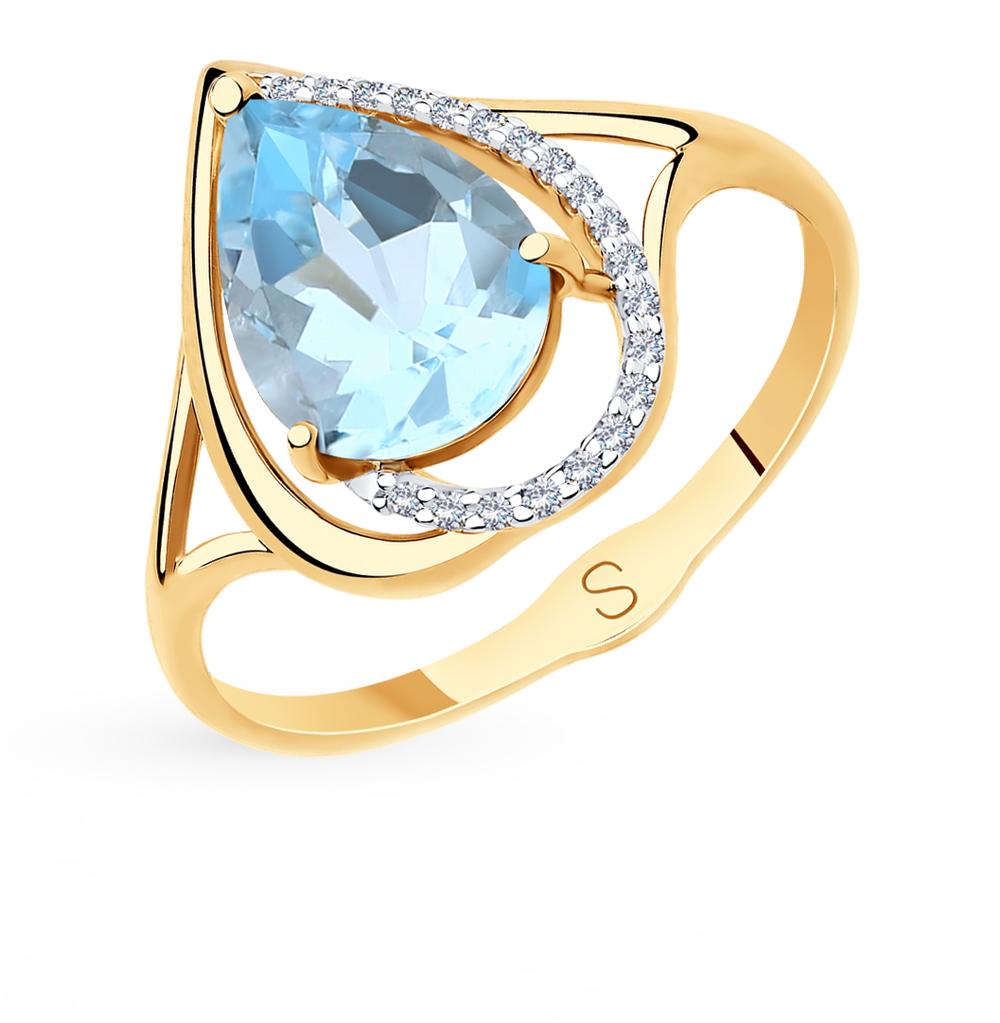 Фото «Золотое кольцо с топазами и фианитами SOKOLOV 715577*»