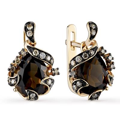 Фото «золотые серьги с коньячными бриллиантами и раухтопазами (кварцами дымчатый)»