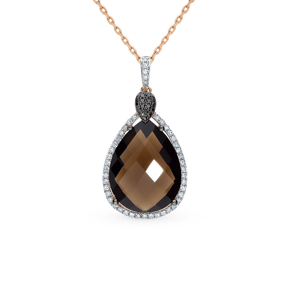 Фото «Золотая подвеска с раухтопазом и бриллиантами»