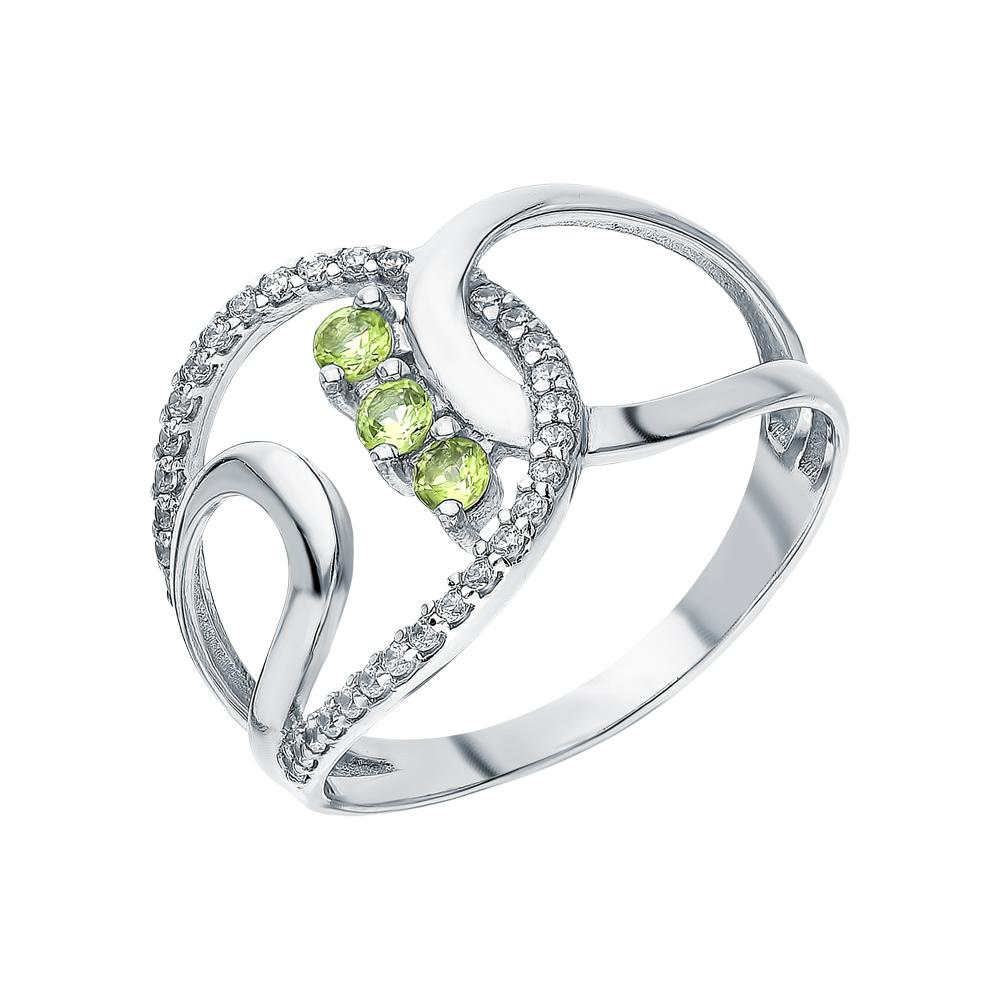 Серебряное кольцо с хризолитом и фианитами в Санкт-Петербурге